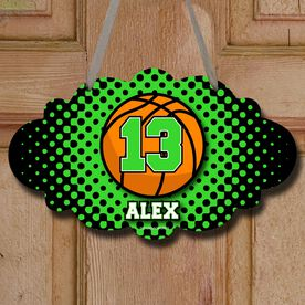 Basketball Cloud Room Sign Personalized Basketball with Dots Background