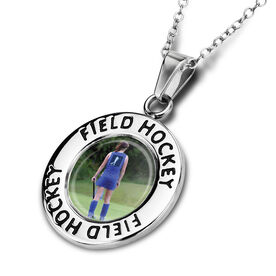 Field Hockey Circle Necklace Your Photo