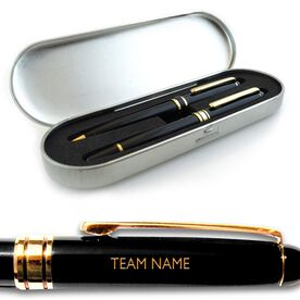Team Name Engraved Black Roller Pen and Ball Point Pen Set