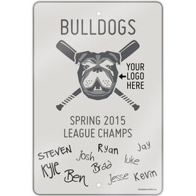 "Baseball Aluminum Room Sign (18""x12"") Team Autograph"