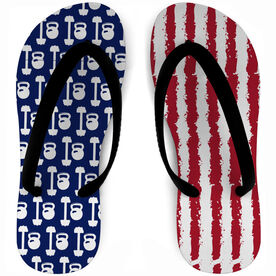 Cross Training Flip Flops Red White and Barbells