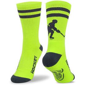 Hockey Woven Mid Calf Socks - Player (Neon/Gray)