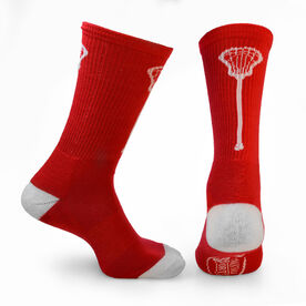 Lacrosse Woven Mid Calf Socks - Single Stick (Red/White)