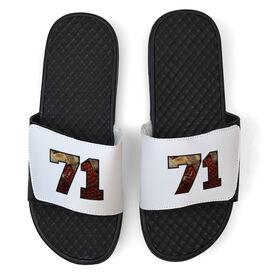 Football White Slide Sandals - Pigskin Number