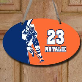 Hockey Oval Sign Personalized Hockey Girl with Big Number