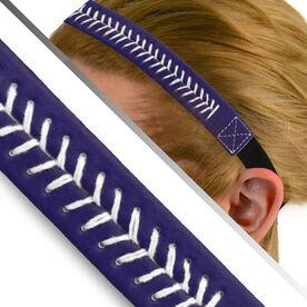 Authentic Softball Stitch Leather Headband Navy Purple