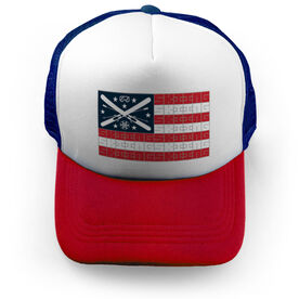 Skiing Trucker Hat - American Flag Words