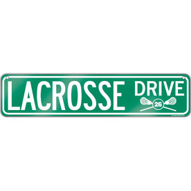 """Guys Lacrosse Aluminum Room Sign Personalized Lacrosse Drive Guys (4""""x18"""")"""