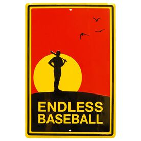 "Endless Baseball Aluminum Room Sign (18"" X 12"")"