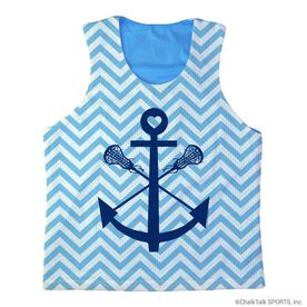 Girls Lacrosse Racerback Pinnie Lacrosse Sticks Anchor with Chevron