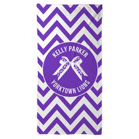 Cheer Beach Towel Personalized Bow with Chevron