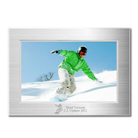 Snowboarding Engraved Frame Silver 4 x 6 with Snowboarding Icon