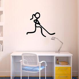 Hockey Stick Figure Girl Removable ChalkTalkGraphix Wall Decal