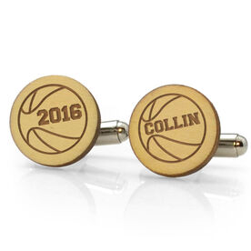 Basketball Engraved Wood Cufflinks Ball with your Year and Name