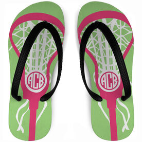 Girls Lacrosse Flip Flops Monogrammed Lax Is Life