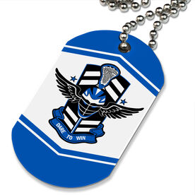 Lacrosse Printed Dog Tag Necklace Dare To Win