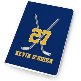 Hockey Notebook Personalized Hockey Player Crossed Sticks