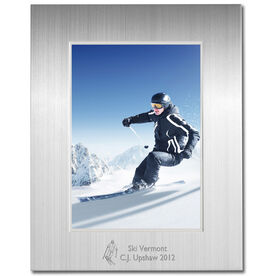 Skiing Engraved Frame Silver 5 x 7 - Skiing Icon