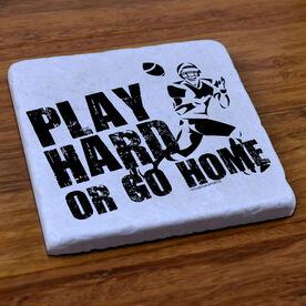 Football Stone Coaster Football Play Hard Or Go Home
