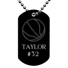 Engraved Personalized Basketball Dog Tag Necklace