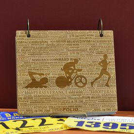 Engraved Bamboo Wood BibFOLIO Swim Bike Run Inspiration Male