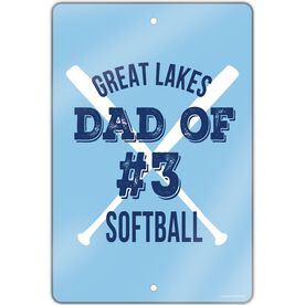 "Softball Aluminum Room Sign (18""x12"") Personalized Team Softball Dad Of"