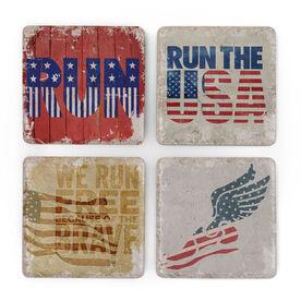 Running Stone Coaster Set of 4 - Patriotic RUN