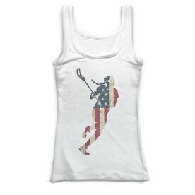 Girls Lacrosse Vintage Fitted Tank Top - Play Lax For The USA