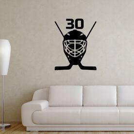 Personalized Hockey Goalie Mask Removable ChalkTalkGraphix Wall Decal