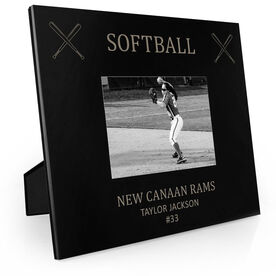 Softball Engraved Picture Frame - Softball & Crossed Bats