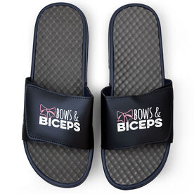 Cheerleading Navy Slide Sandals - Bows and Biceps