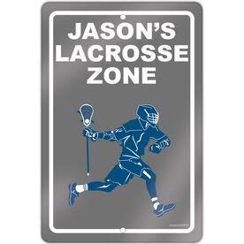 "Lacrosse Aluminum Room Sign Personalized Lacrosse Zone Guy (18"" X 12"")"
