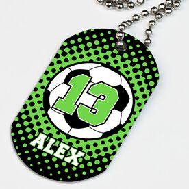 Soccer Printed Dog Tag Necklace Personalized Soccer Ball with Dots Background