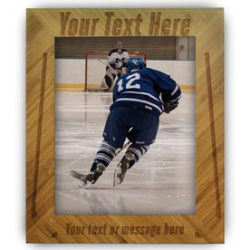 Hockey Bamboo Engraved Picture Frame Your Text Here