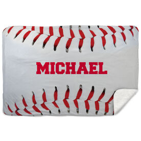 Baseball Sherpa Fleece Blanket Personalized Stitches