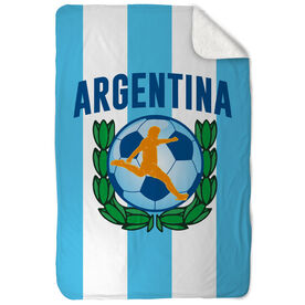 Soccer Sherpa Fleece Blanket Argentina Soccer