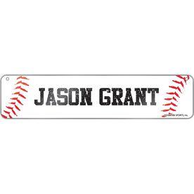 "Baseball Aluminum Room Sign Your Name Baseball (4""x18"")"