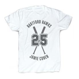 Vintage Baseball T-Shirt - Personalized Crossed Bats