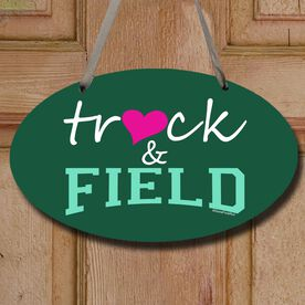 Track and Field Decorative Oval Sign Heart Track and Field