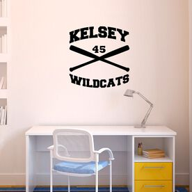 Personalized Softball Crossed Bats Removable ChalkTalkGraphix Wall Decal
