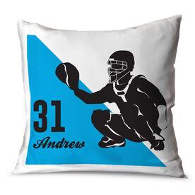 Baseball Throw Pillow Personalized Baseball Catcher Silhouette