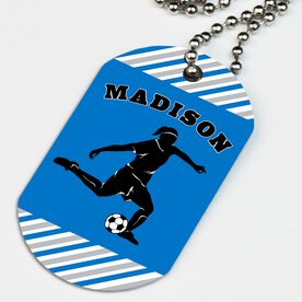 Soccer Printed Dog Tag Necklace Personalized Soccer Player Girl