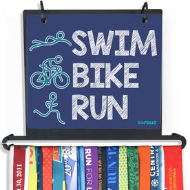 BibFOLIO Plus Race Bib and Medal Display - Swim.Bike.Run.