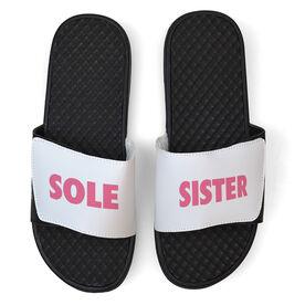 Running White Slide Sandals - Sole Sister Text