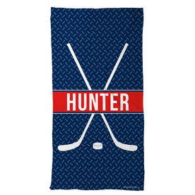 Hockey Beach Towel Personalized Crossed Sticks with Stripe