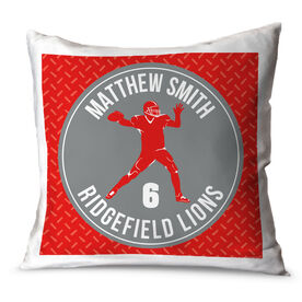 Football Throw Pillow Personalized Football Team with Quarterback Silhouette