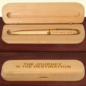 Engraved The Journey Is The Destination Wood Pen and Case