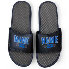Volleyball Navy Slide Sandals - Player Name and Number