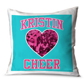 Cheerleading Throw Pillow Personalized Cheer Heart