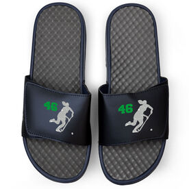 Field Hockey Navy Slide Sandals - Player Silhouette with Number
